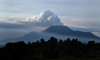 Mount Nyiragongo, Virunga National Park, Democratic Republic of the Congo: Nyiragongo Volcano during one of its regular eruptions � columns of gas and ashes - stratovolcano in the Virunga Mountains - Great Rift Valley - photo by C.Lovell