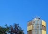 Brazzaville, Congo: Ministry of Planning building on Place de la Republique - top floors and blue sky - photo by M.Torres