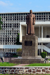 Brazzaville, Congo:  statue of the first Congolese President Fulbert Youlou, dressed in a cassock, in front of the the City Hall - Hôtel de Ville / Mairie - architect Jean Yves Normand - Avenue Amilcar Cabral, Quartier de la Plain, Poto-Poto - photo by M.Torres