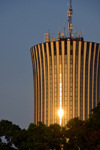 Brazzaville, Congo: late afternoon sun reflected in the Nabemba tower / Tour Nabemba, aka Elf Tower, built by Elf Aquitaine Congo - tallest building in Congo, Poto-Poto - framed by tree - photo by M.Torres