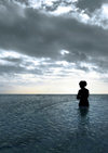 Cook Islands - Rarotonga island: girl entering the Pacific Ocean - silhouette - photo by B.Goode