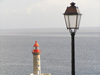 Corsica - Bastia: lighthouse and lamppost - photo by J.Kaman