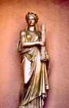 Corsica - Bastia: golden statue on the stairs to the citadel - photo by M.Torres