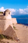 Corsica - Ajaccio (Corse du Sud): the fortress and the beach (photo by M.Torres)