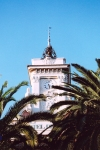 Corsica - Ajaccio (Corse du Sud): clock tower of the Hotel de Vile (photo by M.Torres)
