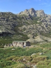 Corsica / Corse - Ercu mountain hut and highest peak of Corsica - Monte Cinto (photo by J.Kaman)
