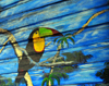 San José, Costa Rica: Parque Morazán - tucan painted on a wooden wall - photo by M.Torres