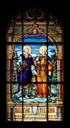 San José, Costa Rica: Metropolitan Cathedral - stained glass - Saints Peter and Paul - photo by M.Torres