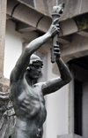 San José, Costa Rica: winged bearer of fire - statue in front of the central post office - calle 2 - photo by M.Torres