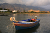 Crete, Greece - Frangokastello, Hania prefecture: fishing boat and the castle - photo by A.Dnieprowsky