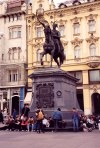 Zagreb: relaxing  - under Ban Josip Jelacic - sculpture by Anton Domenik Fernkorn - photo by M.Torres