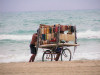 Cuba - Varadero - Matanzas Province: beach - souvenir sellers struggle with the sand - Playa Azul - photo by L.Gewalli