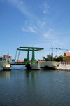 Curacao - Willemstad: Floating market area - Dutch style drawbridge, shot fromWilhelmina Bridge - photo by S.Green