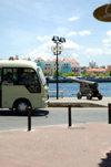 Curacao - Willemstad: New bus, old cannons on Handelskade, with De Rouvillewegin the background - photo by S.Green