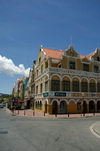 Curacao - Willemstad: Corner building of Handelskade on the St. Annabaai channeland Breedestraat - photo by S.Green