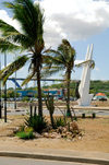Curacao - Willemstad: Palm tree and view along St. Annabaai channel - photo by S.Green