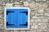 Lofou - Limassol district, Cyprus: blue wooden shutters - photo by A.Ferrari