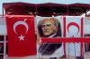 North Cyprus - Nicosia: under the eyes of Mustapha Kemal (Ataturk) - Turkish and TRNC flags (photo by Miguel Torres)