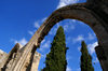 Bellapais, Kyrenia district, North Cyprus: Bellapais abbey - arcade and sky - photo by A.Ferrari