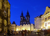 Czech Republic - Prague: Astronomical Clock and the Old Town Square - dusk - photo by J.Kaman