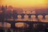 Czech Republic - Prague: four bridges and the Vltava - red sky (photo by M.Gunselman)