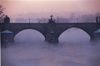 Czech Republic - Prague: Charles bridge in the mist - at dawn (photo by M.Gunselman)