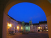 Czech Republic - Mikulov: Town Square seen from the arcade  - nocturnal  - photo by J.Kaman