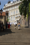 Tourists walking upstairs to reach the Prague Castle. Czech Republic - photo by H.Olarte