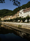 Czech Republic - Karlovy Vary / Carlsbad: facades along the river Ohre - riverside promenade - photo by J.Fekete