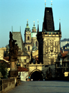 Czech Republic - Prague: morning light in Charles Bridge - view of the Gothic gate and Mala Strana - Lesser Town Bridge Towers - Malostranske mostecke veze - photo by J.Fakete