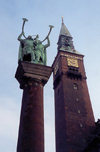 Copenhagen: Towers and trumpets - lur palyers on R�dhus-pladsen - photo by M.Torres