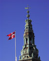 Denmark - Copenhagen / K�benhavn / CPH: Parliament Tower and Danish flag (photo by G.Friedman)