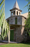 Dominica - Roseau / DCG / DOM: church and palm tree leaves - photo by G.Frysinger