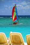 Punta Cana, Dominican Republic: small catamaran - the chaise longue perspective -  Arena Gorda Beach - photo by M.Torres