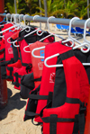 Punta Cana, Dominican Republic: life jacket rack - Arena Gorda Beach - photo by M.Torres
