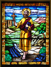 Puerto Plata, Dominican republic: stained glass window representing St Philip the Apostle, a gift of the Brugal family - Cathedral of San Felipe - Catedral San Felipe Apóstol - photo by M.Torres