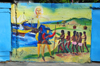 Puerto Plata, Dominican republic: Colombo's fleet arrives in Quizqueya - mural at Parque Regalado - photo by M.Torres