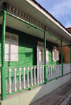 Puerto Plata, Dominican republic: green façade of a Creole house - photo by M.Torres