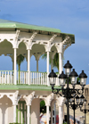Puerto Plata, Dominican republic: moorish arches of the bandstand and street lights of the central park - Glorieta victoriana del Parque Central Independencia - photo by M.Torres