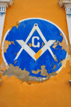 Puerto Plata, Dominican republic: Masonic Square and Compasses - symbolism at the Malec�n - Restauraci�n masonic lodge - Respetable Logia Restauraci�n al Or.�. de Puerto Plata - photo by M.Torres