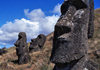 Easter Island / Rapa Nui: Rano Raraku Moai: statues erected on a hillside - heads - photo by G.Frysinger