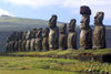 Easter island / Ilha da Pascoa / Isla de Pascua - Tonguriki: ahu - line of statues -  In the background (to the East) is the extinct volcanic peak of Puakatiri - Unesco world heritage site (photo by Roe Eime)