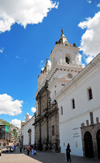Quito, Ecuador: Baroque fa�ade of Iglesia y Monasterio de San Francisco - Church and Monastery of St. Francis - built between 1550 and 1680, architects Jodoco Ricke, Pedro Gosseal, Antonio Rodr�guez - Ecuador's largest colonial building - Plaza San Francisco - photo by M.Torres