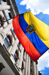 Quito, Ecuador: flag of Ecuador at the vice-president's palace - Calle Benalc�zar - Palacio de la Vicepresidencia - architect Durinni - photo by M.Torres