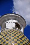 Quito, Ecuador: Catedral Metropolitana - Metropolitan Cathedral - dome covered in of glazed ceramic tiles and crowned with a lantern - fa�ade on Calle Garcia Moreno - photo by M.Torres
