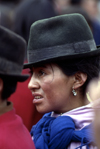Quito, Ecuador: Quechua woman with hat, in a demonstration - photo by J.Fekete
