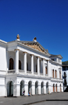 Quito, Ecuador: Plaza del Teatro / Plaza Chica - Teatro Nacional Sucre - neo classical façade by the architect Franscisco Schmit - - Ionic columns supporting the pediment - photo by M.Torres