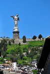 Quito, Ecuador: El Panecillo - statue of the Virgen de Quito by Agust�n de la Herr�n Matorras - virgin on top of a globe, stepping on a snake - photo by M.Torres