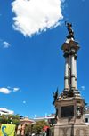 Quito, Ecuador: Plaza Grande / Plaza de la Independencia - Independence Square - bronze and marble liberty monument, built in 1908, marking Ecuador's independence from Spain - designed by Lorenzo and Francesco Durini and made in Italy by Adriatico Froli - photo by M.Torres