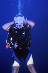 Egypt - Red Sea - Marsa Alam area: wolf man - scuba diving - diver (underwater photography by K.Osborn)